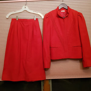 VINTAGE Red Two Piece Wool Suit Set